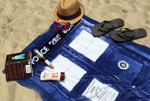 Doctor Who TARDIS towel on the beach