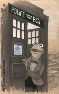 Kermit getting out from Tardis