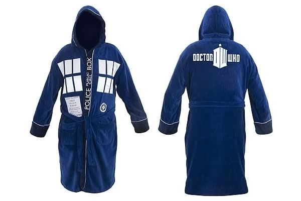 Doctor Who TARDIS Hooded Bath Robe - $69.95 (front and back shown)
