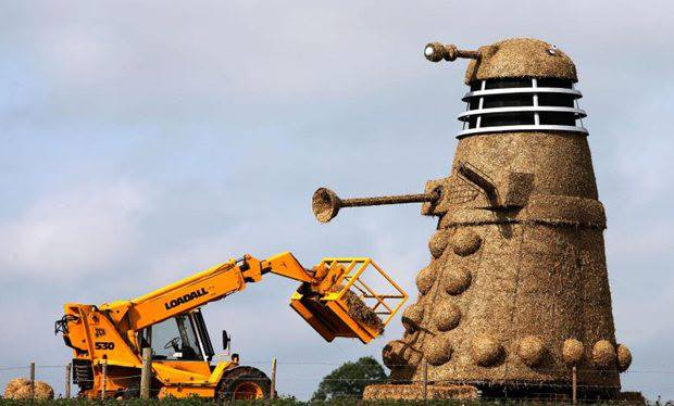 Mike Harper Giant Dalek sculpture and the truck invades Cheshire field Great Britain